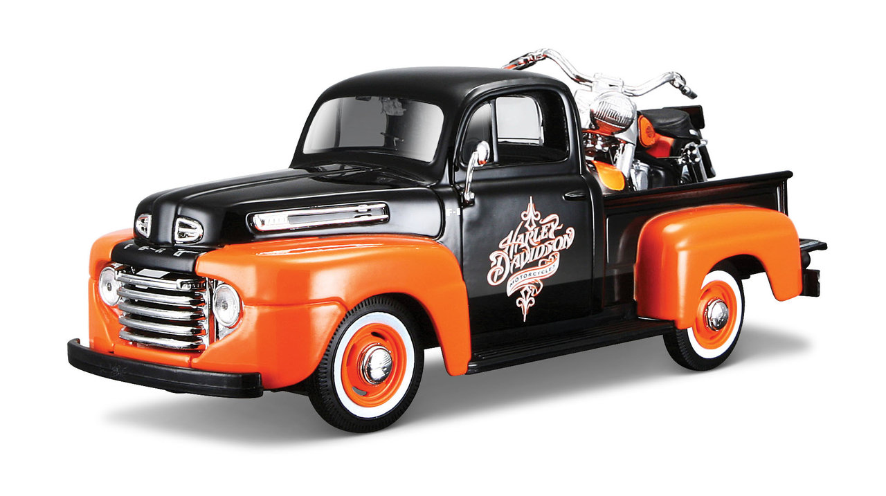 1:24 Harley-Davidson 1958 FLH Duo Glide + Ford F-1 Pickup